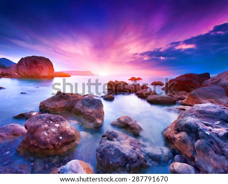 Digital artwork in watercolor painting style. Colorful summer seascape - stock photo