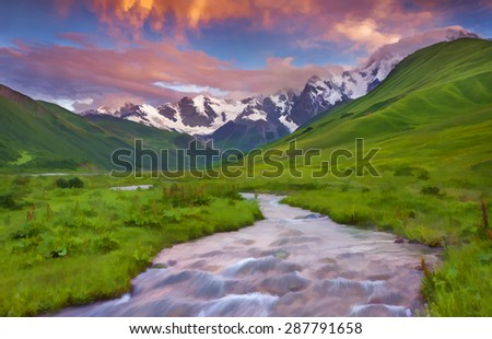 Digital artwork in watercolor painting style. Fantastic sunset in the mountains. - stock photo