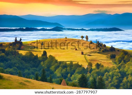 Digital artwork in watercolor painting style. Rural landscape against the foggy mountains