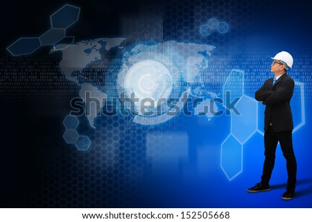 Digital background and programmer : Elements of this image furnished by NASA  - stock photo