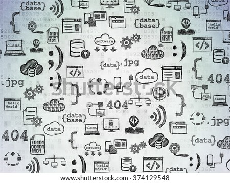 Digital background: Digital Paper with  Hand Drawn Programming Icons - stock photo
