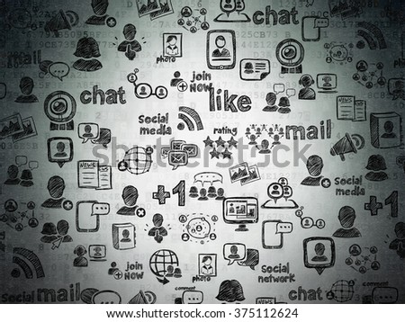Digital background: Digital Paper with  Hand Drawn Social Network Icons - stock photo
