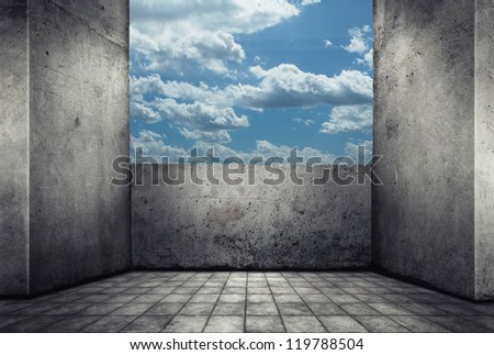 Digital background for studio photographers. Empty concrete room with blue sky. - stock photo