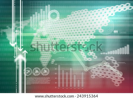 Digital background image with graphs and diagrams - stock photo