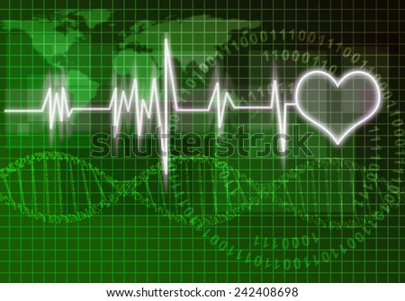 Digital background image with heart on color backdrop