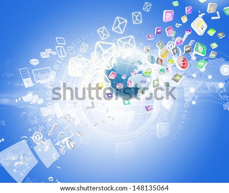 Digital background image with symbols and icons