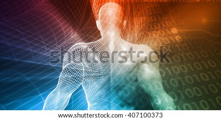 Digital Background with Businessman Accessing Technology Concept 3D Illustration Render