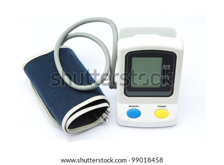 Digital blood pressure gauge over white background - stock photo