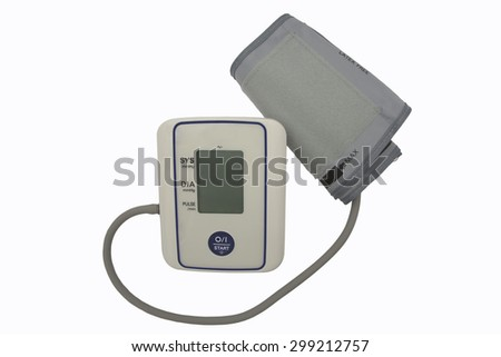 Digital Blood Pressure Monitor and cuff, with blank display. Isolated on a white background