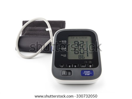 Digital Blood Pressure Monitor on bright background. Hypotension concept.