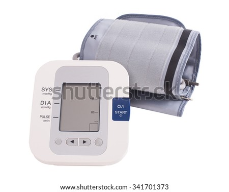 Digital blood pressure monitor on white background. Stock image