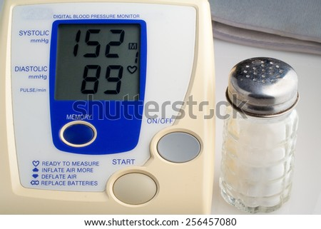 digital blood pressure monitor with salt shaker