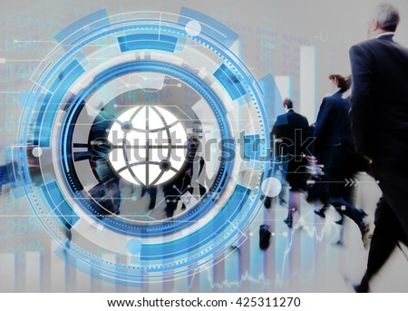 Digital Blue Hud Interface Global Concept - stock photo
