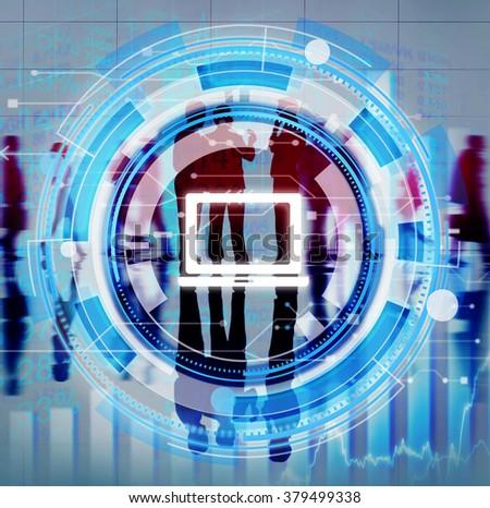 Digital Blue Hud Interface Laptop Concept - stock photo