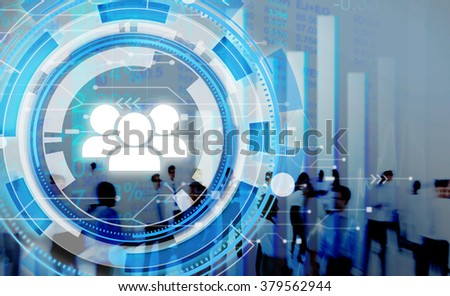 Digital Blue Hud Interface Team Concept - stock photo