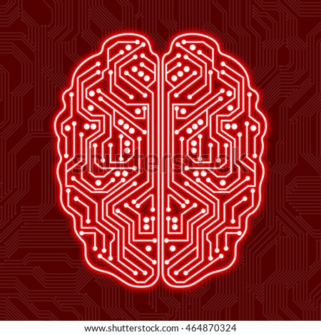 Digital brain on a red background