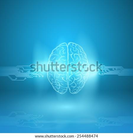 Digital brain on blue background - stock photo