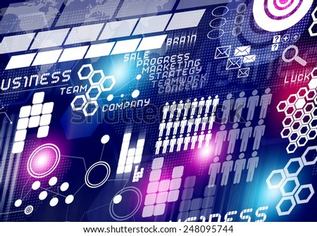 Digital business background image with icons on media screen - stock photo