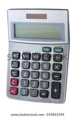 Digital calculator isolated on a white background - stock photo
