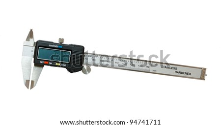 Digital caliper isolated on a white background - stock photo