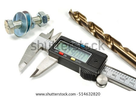 Digital caliper with drill and bolt on a white background