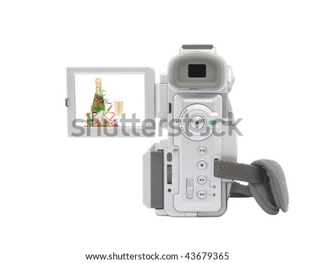 Digital camcorder isolated on white background. Isolated object.