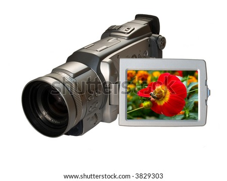digital camcorder with floral picture on the screen - stock photo