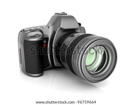 Digital camera image on white background - stock photo