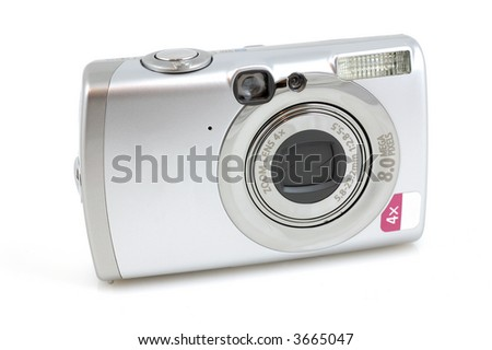 Digital camera in isolated white background
