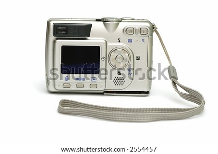 Digital Camera isolated against a white background - stock photo