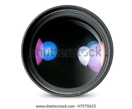 Digital camera lens isolated on white - stock photo