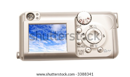 Digital camera on a white background
