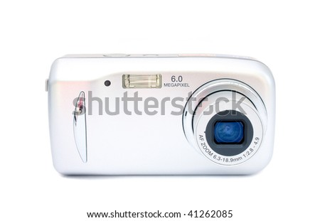 Digital camera on a white background, it is isolated.