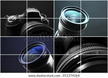 Digital cameras collage - stock photo