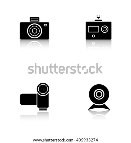 Digital cameras drop shadow icons set. Slr vintage photocam and webcam symbols. Modern action and video camera pictograms. Cast shadow logo concepts. Raster black silhouette illustrations - stock photo