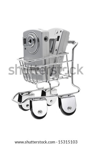 Digital cameras in mini push cart on white background