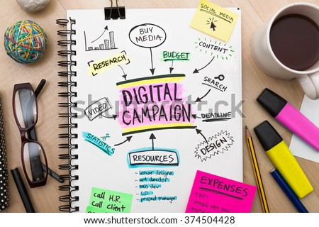 Digital campaign roadmap plan on sketch pad high resolution