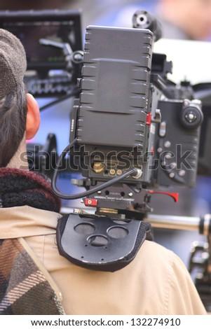 Digital cinema camera on a movie set. - stock photo