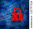 Digital circuit board with red padlock in the middle of it - stock photo