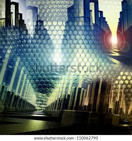 digital city background - stock photo
