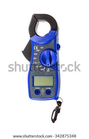digital clamp meter isolated on white - stock photo