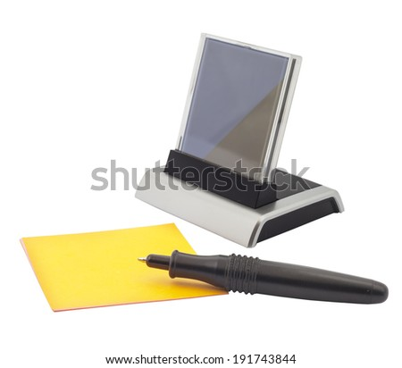 Digital clock and small note paper on white background - stock photo