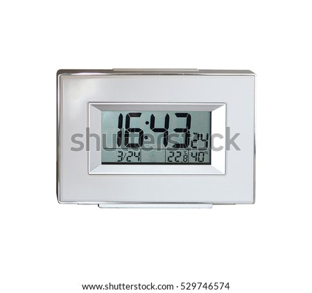Digital clock and white background.