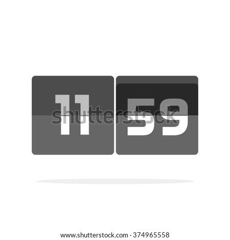 Digital clock countdown icon, abstract black and white mechanical clock, retro old flat style timer display, modern simple illustration design isolated on white image - stock photo
