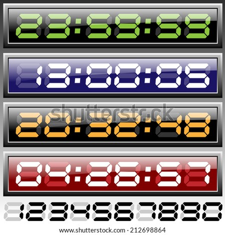 Digital clock illustration raster version - stock photo