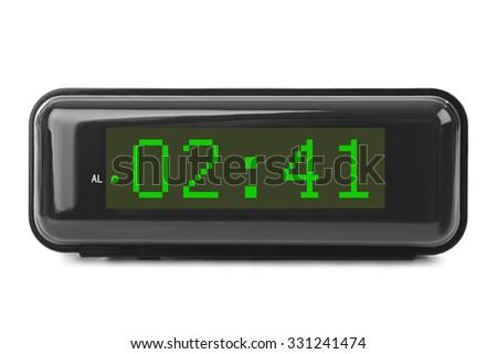 Digital clock isolated on white background - stock photo