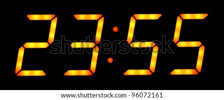 Digital clock show five minutes to twelve. Isolated on the black background - stock photo