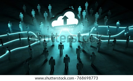 Digital cloud downloading datas in front of a group of people 3D rendering