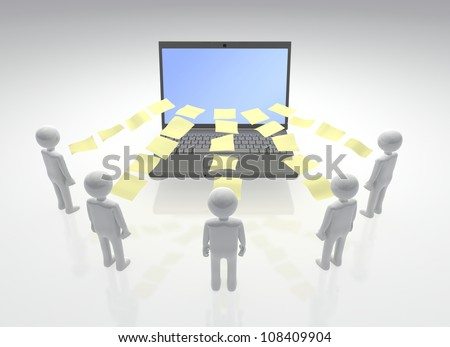 Digital Collaboration. Circle of individuals contributing files and documents with a central computer - stock photo