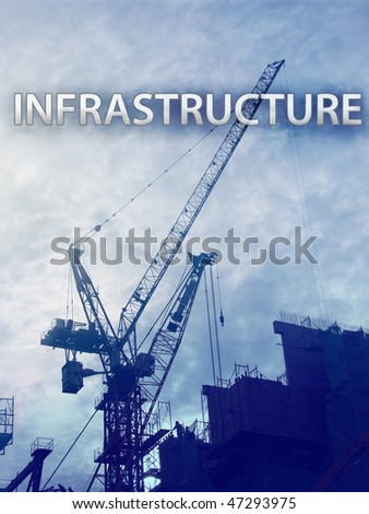 Digital collage illustration of construction iandustry equipment - stock photo